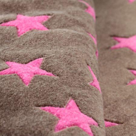 Matdox MONTANA Fleece Decke STARS braun/pink