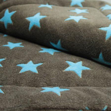 Matdox MONTANA Fleece Decke STARS braun/türkis