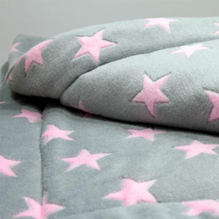 Matdox MONTANA Fleece Decke STARS hellgrau/rosa